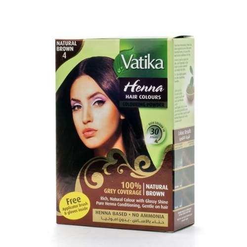 """Краска для волос с хной """"Естественный коричневый"""" Дабур Ватика (Dabur Vatika Henna Natural Brown), 60г"""