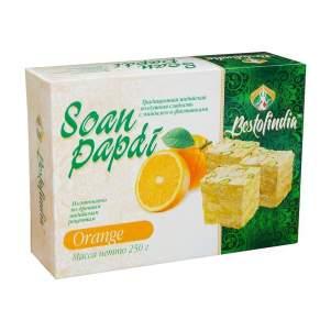 Воздушные индийские сладости со вкусом апельсина Соан Папди Апельсин Бестофиндия (Bestofindia Soan Papdi Orange), 250г