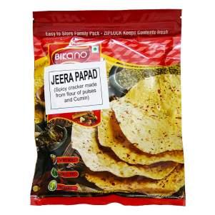 Лепёшки из муки бобовых Папад острые с зирой (кумином) Бикано (Bikano Jeera Papad), 200г