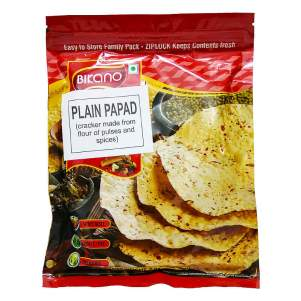 Лепёшки из муки бобовых Папад хрустящие со специями Бикано (Bikano Plain Papad), 200г
