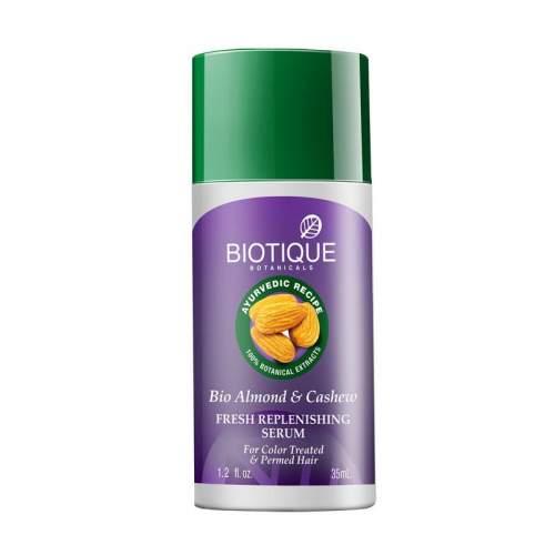 Восстанавливающая сыворотка для окрашенных волос Биотик Био Кешью и Миндаль (Biotique Bio Almond and Cashew Serum), 35мл