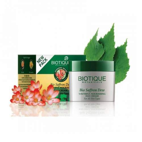 Антивозрастной крем для лица и тела Биотик Био Шафран (Biotique Bio Saffron Dew Youthful Nourishing Day Cream), 50мл