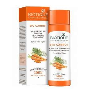 Солнцезащитный лосьон SPF40+ для лица  для всех типов кожи Биотик Био Морковь (Biotique Bio Carrot Sunscreen Lotion), 120мл