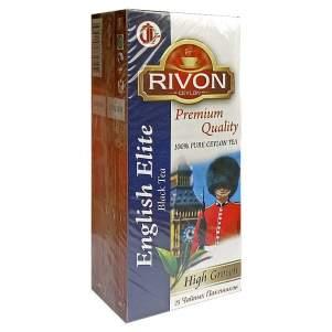 Чай цейлонский чёрный высокогорный премиум-качества Английский Элитный Ривон (Rivon Ceylon Premium Quality English Elite High Grown Black Tea), 25шт