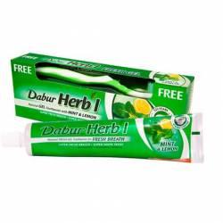"""Освежающая зубная паста-гель """"Мята и Лимон"""" Дабур (Dabur Herb'l Mint&Lemon Fresh Breath from Natural FRESH GEL Toothpaste), 150г+зубная щетка"""