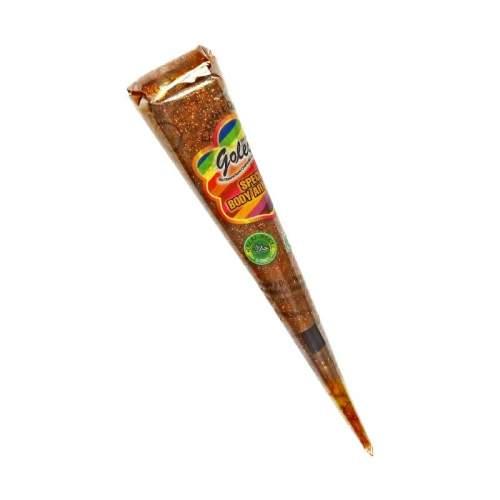 Золотая хна с блёстками для мехенди в конусе Голеча (Golecha Glitter Henna Cone), 25мл