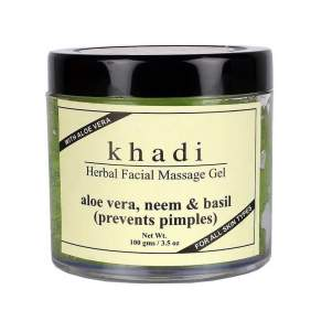 Массажный Гидрогель для лица Алоэ вера Ним и Базилик Кхади (Khadi Aloevera Neem & Basil Face Massage Gel), 100г