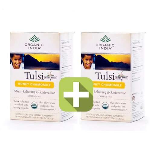 Акция 2 по цене 1! Базиликовый чай Мед и Ромашка Органик Индия (Organic India Tulsi Honey Chamomile), 18шт