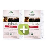 Акция 2 по цене 1! Базиликовый чай Жасмин Органик Индия (Organic India Tulsi Jasmine), 18шт