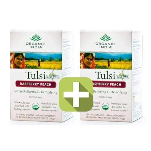 Акция 2 по цене 1! Базиликовый чай Малина и Персик Органик Индия (Organic India Tulsi Rasberry Peach), 18шт