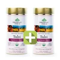Акция 2 по цене 1! Базиликовый чай Малина и Персик Органик Индия (Organic India Tulsi Rasberry Peach), 2x100г