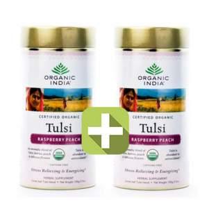 Акция 2 по цене 1! Базиликовый чай Малина и Персик Органик Индия (Organic India Tulsi Rasberry Peach), 100г