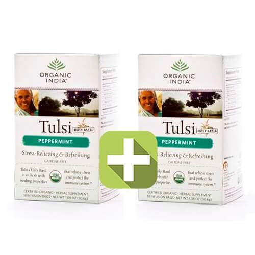 Акция 2 по цене 1! Базиликовый чай Мята Органик Индия (Organic India Tulsi Peppermint), 18шт