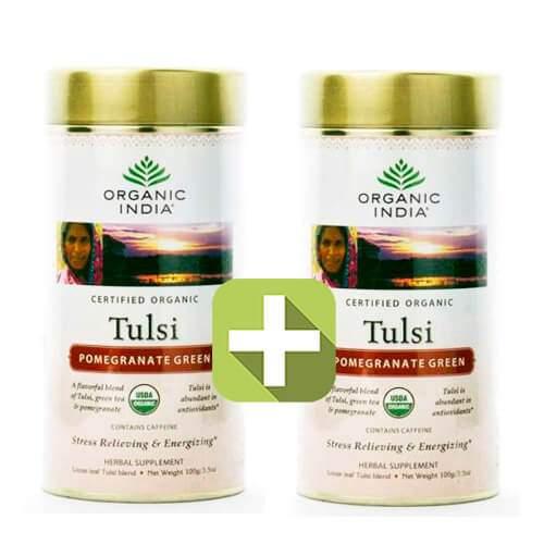 Базиликовый чай Зеленый гранат Органик Индия (Organic India Tulsi Pomegranate Green), 100г