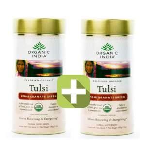 Акция 2 по цене 1! Базиликовый чай Зеленый гранат Органик Индия (Organic India Tulsi Pomegranate Green), 100г
