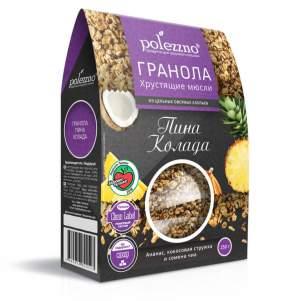 Гранола Пина Колада без сахара с ананасом Полеззно (Polezzno), 250г