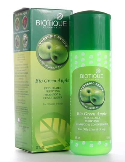 Шампунь-кондиционер для восстановления волос Биотик Био Зеленое Яблоко (Biotique Bio Green Apple Fresh Daily Purifying Shampoo&Conditioner), 210мл