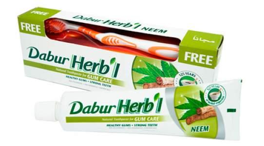 """Зубная паста """"Укрепление Десен"""" с нимом Дабур (Dabur Herb'l NeemNatural Toothpaste for Gum Care), 150г + зубная щетка"""
