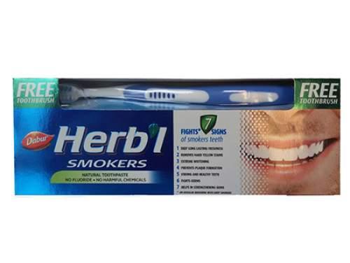 Зубная паста для курильщиков Дабур (Dabur Herb'l Smokers), 150г + зуб.щетка