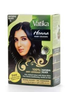 """Краска для волос с хной """"Естественный черный"""" Дабур Ватика (Dabur Vatika Henna Natural Black), 60г"""