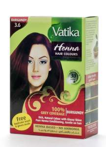 """Краска для волос с хной """"Бургунд""""  Дабур Ватика (Dabur Vatika Henna Burgundy), 60г"""