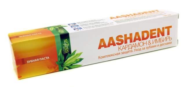 """Зубная паста ААШАДЕНТ  Кардамон&Имбирь """"Комплексная защита. Уход за зубами и деснами"""" Ааша (AASHADENT Aasha Herbals), 100г"""