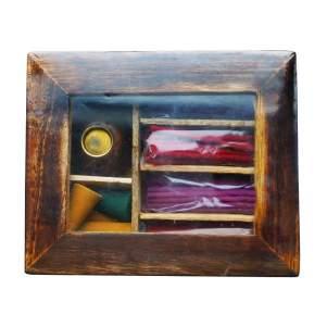 Набор конусов и палочек в подарочной коробке из дерева манго B-01, 15x12x4см