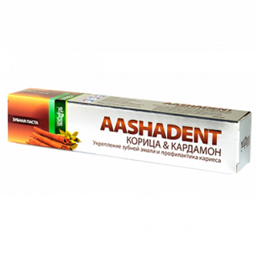 "Зубная паста ААШАДЕНТ Корица&Кардамон ""Укрепление зубной эмали и профилактика кариеса"" Ааша (AASHADENT Aasha Herbals), 100г"