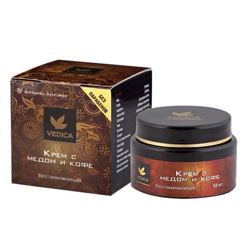 Восстанавливающий крем для лица без парабенов с мёдом и кофе Веда Ведика (Veda Vedica), 50мл