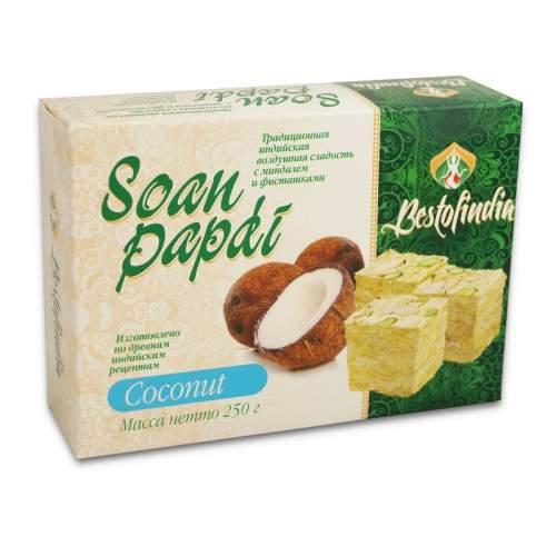 Воздушные индийские сладости с кокосом Соан Папди Кокос Бестофиндия (Bestofindia Soan Papdi Coconut), 250г