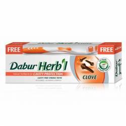 """Зубная паста """"Защита полости рта"""" с гвоздикой Дабур (Dabur Herb'l Clove Natural Toothpaste for Cavity Protection), 150г + зубная щетка"""