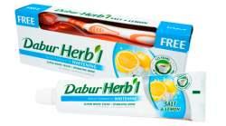 "Отбеливающая зубная паста ""Соль и Лимон"" Дабур (Dabur Herb'l Salt&Lemon Natural Toothpaste for WHITENING), 150г + зубная щетка"